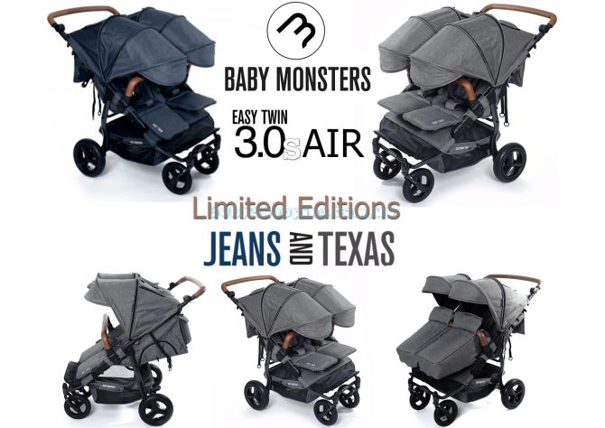 Коляска для двойни Baby Monsters Easy Twin 3S Air Limited Editions ����, �������� | Babyshopping
