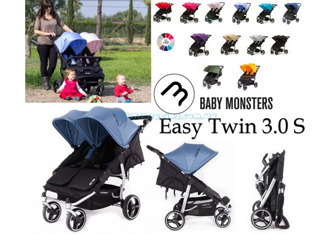 Прогулочная коляска для двойни Baby Monsters Easy Twin 3.0 S  ����, �������� | Babyshopping